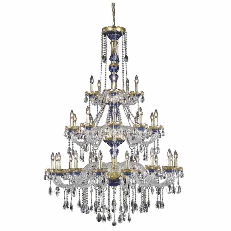 Elegant Lighting Alexandria 30 Light Blue Chandelier Clear Royal Cut Crystal (7810G45BE/RC)