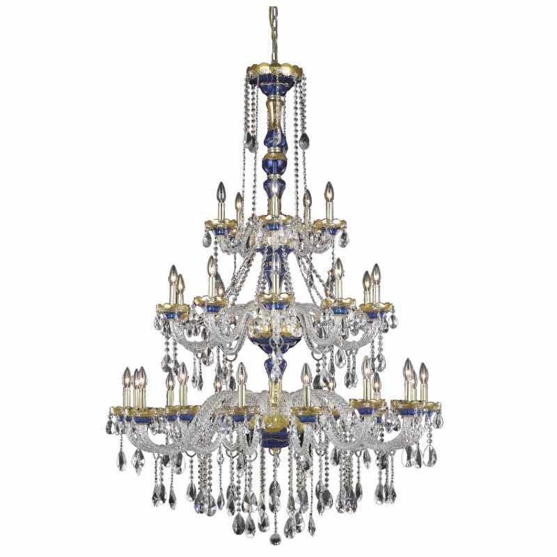 Elegant Lighting Alexandria 30 Light Blue Chandelier Clear Spectra Swarovski Crystal (7810G45BE/SA)