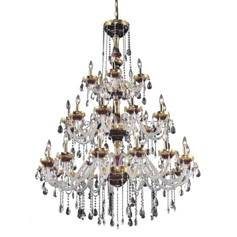 Elegant Lighting Alexandria 30 Light Gold Chandelier Clear Elegant Cut Crystal (7810G45G/EC)