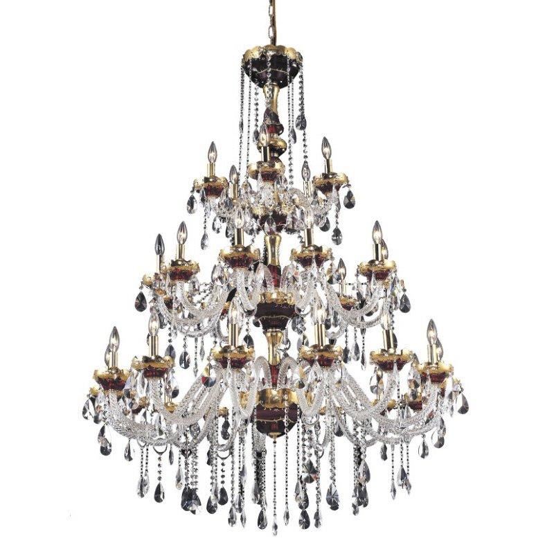 Elegant Lighting Alexandria 30 Light Gold Chandelier Clear Spectra Swarovski Crystal (7810G45G/SA)