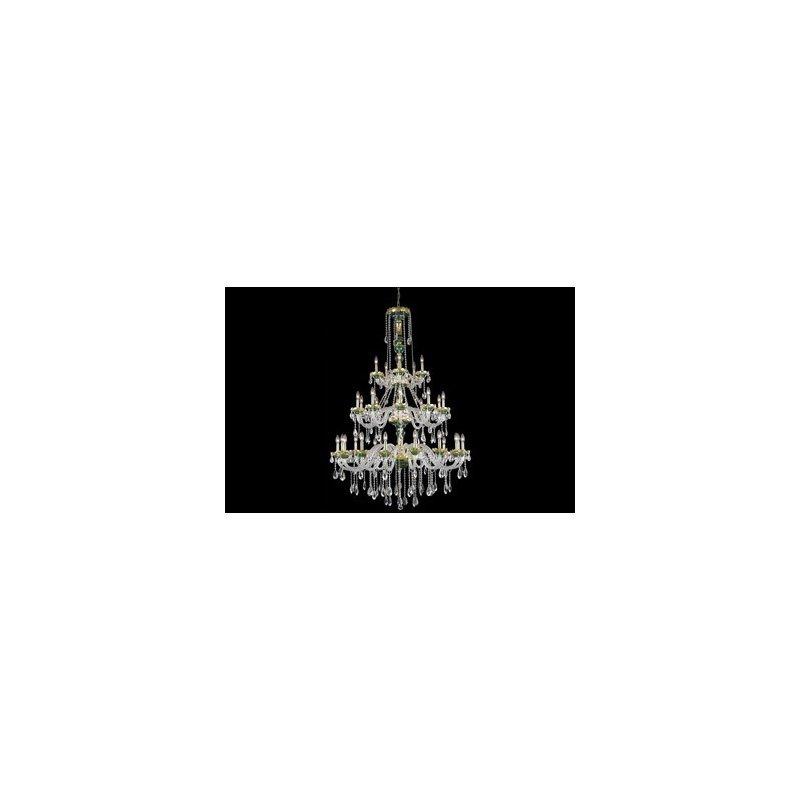 Elegant Lighting Alexandria 30 Light Green Chandelier Clear Elegant Cut Crystal (7810G45GN/EC)