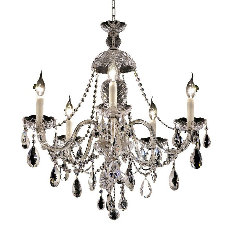 Elegant Lighting Alexandria 5 Light Chrome Chandelier Clear Royal Cut Crystal (7829D25C/RC)