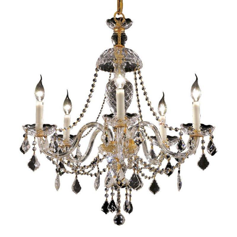 Elegant Lighting Alexandria 5 Light Gold Chandelier Clear Elegant Cut Crystal (7831D25G/EC)