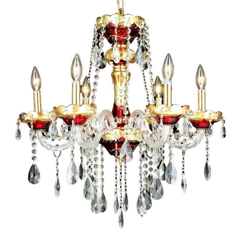 Elegant Lighting Alexandria 6 Light Gold Chandelier Clear Swarovski Elements Crystal (7810D24G/SS)