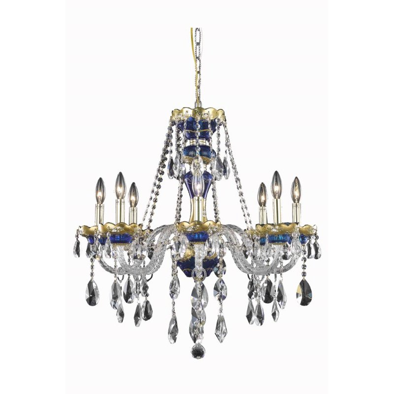 Elegant Lighting Alexandria 8 Light Blue Chandelier Clear Swarovski Elements Crystal (7810D26BE/SS)