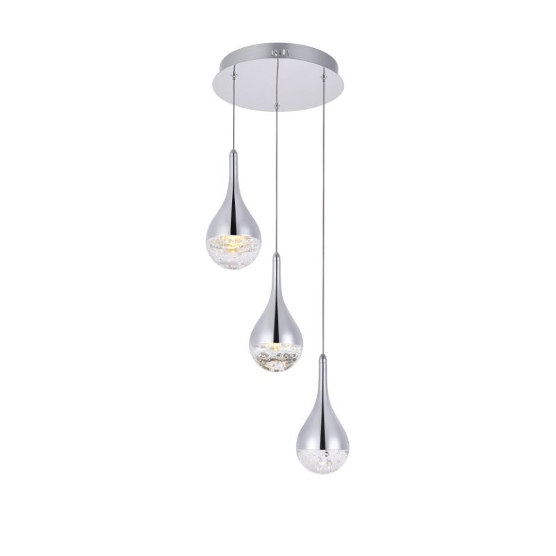 Elegant Lighting Amherst Collection LED 3-Light chandelier 12in x 9in chrome finish (3803D12C)