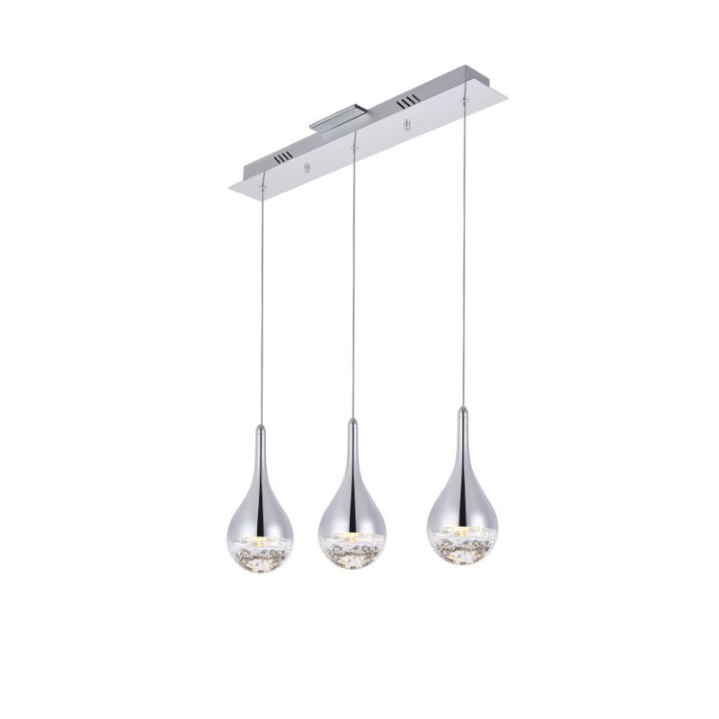 Elegant Lighting Amherst Collection LED 3-Light chandelier 24in x 4in x 9in chrome finish (3803D24C)