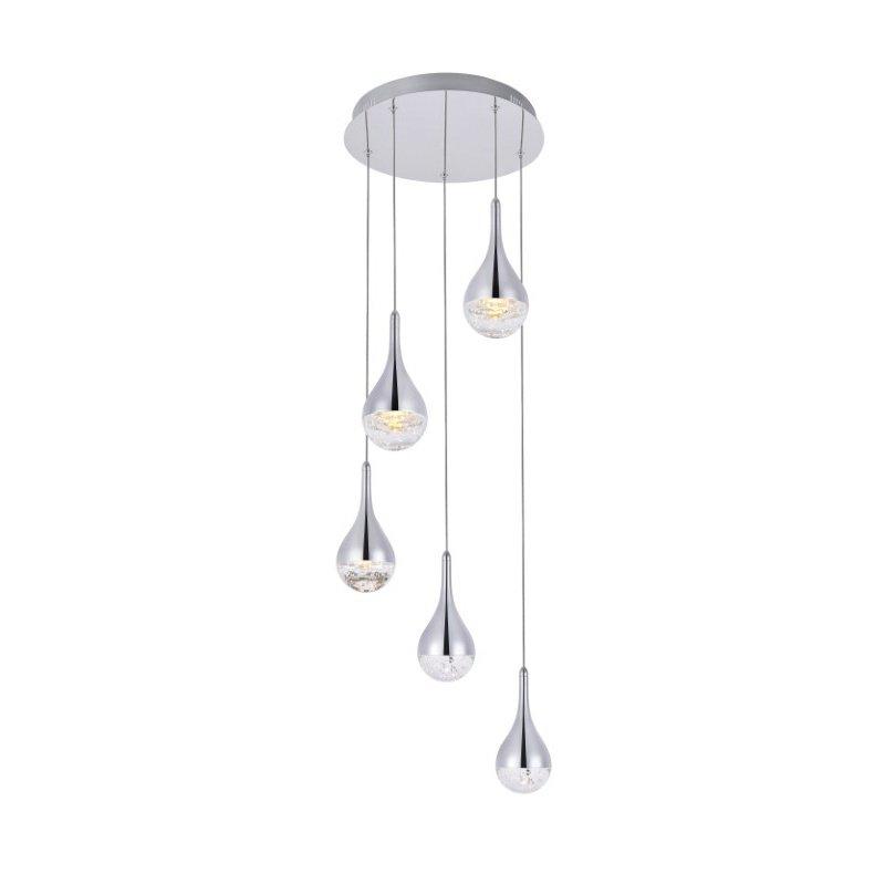 Elegant Lighting Amherst Collection LED 5-Light chandelier 15in x 9in chrome finish (3805D14C)