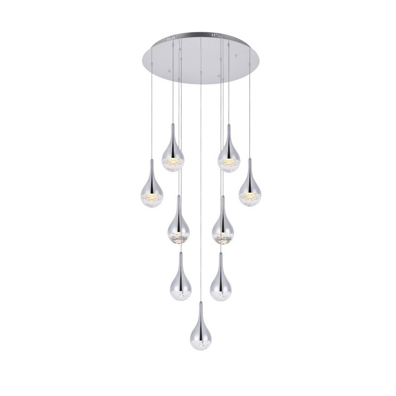 Elegant Lighting Amherst Collection LED 9-Light chandelier 24in x 9in chrome finish (3809D24C)