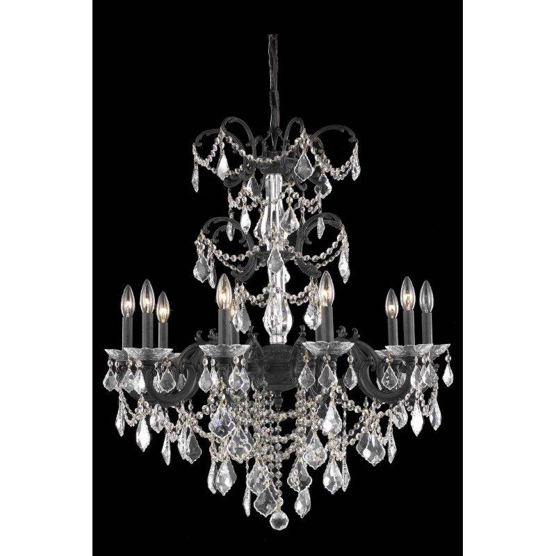 Elegant Lighting Athena 10 Light Dark Bronze Chandelier Clear Elegant Cut Crystal (9710D29DB/EC)