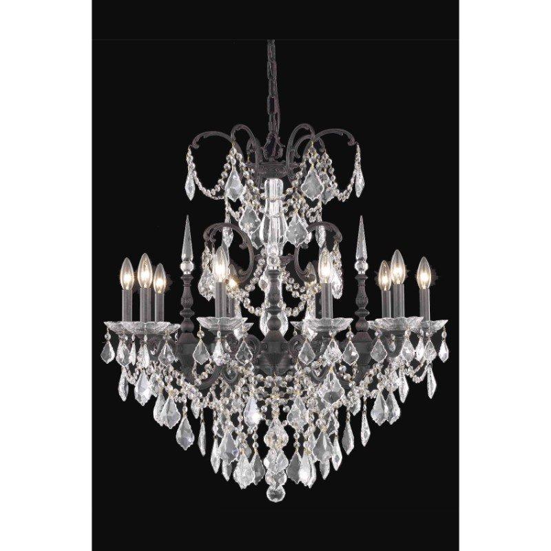 Elegant Lighting Athena 10 Light Dark Bronze Chandelier Clear Elegant Cut Crystal (9710D30DB/EC)