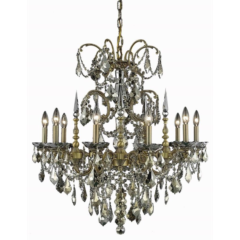 Elegant Lighting Athena 10 Light French Gold Chandelier Golden Teak (Smoky) Royal Cut Crystal (9710D30FG-GT/RC)