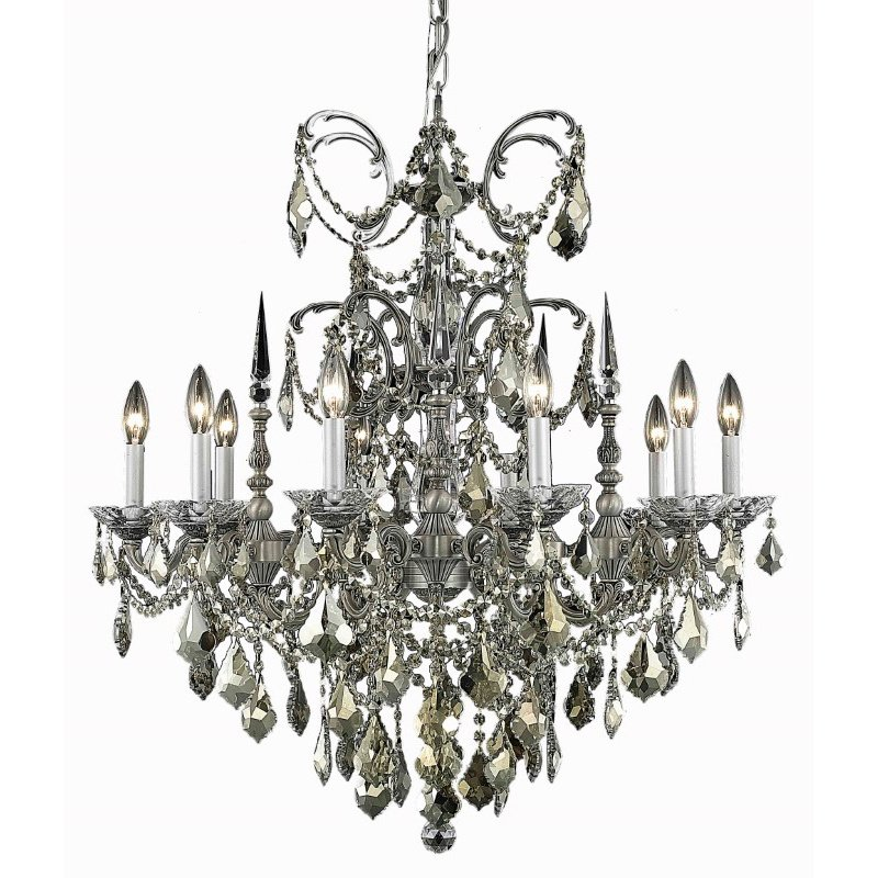 Elegant Lighting Athena 10 Light Pewter Chandelier Clear Elegant Cut Crystal (9710D30Pw/EC)
