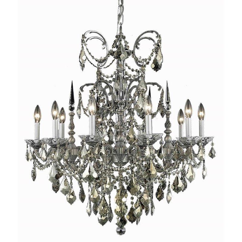 Elegant Lighting Athena 10 Light Pewter Chandelier Clear Royal Cut Crystal (9710D30Pw/RC)