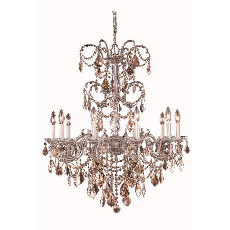 Elegant Lighting Athena 10 Light Pewter Chandelier Golden Teak (Smoky) Royal Cut Crystal (9710D29PW-GT/RC)