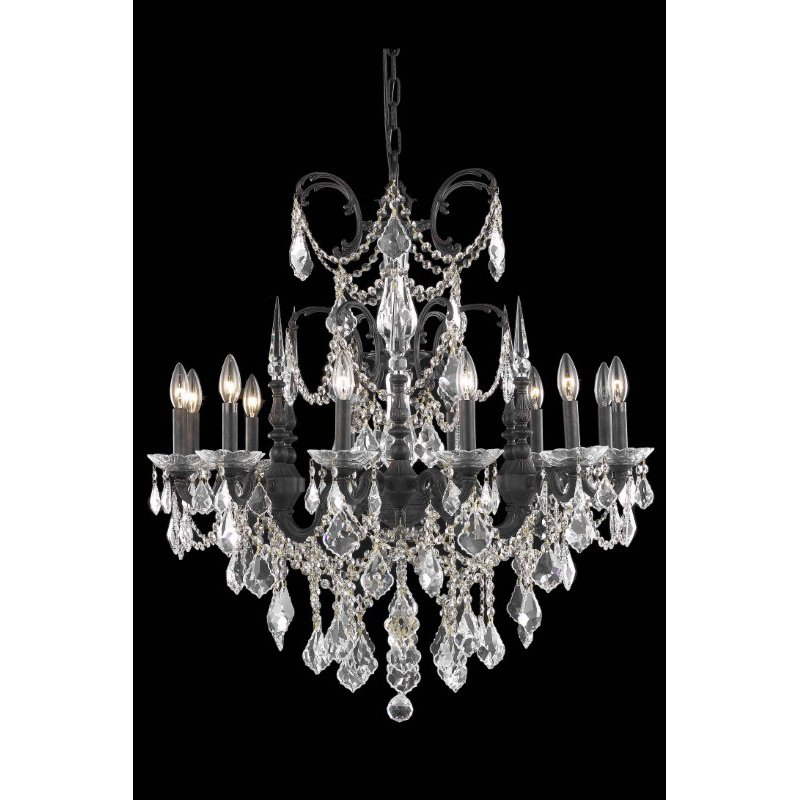 Elegant Lighting Athena 12 Light Dark Bronze Chandelier Clear Swarovski Elements Crystal (9712D32DB/SS)