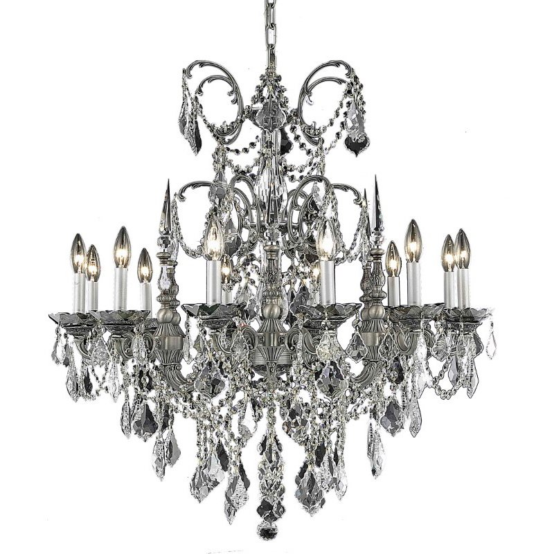Elegant Lighting Athena 12 Light Pewter Chandelier Clear Royal Cut Crystal (9712D32Pw/RC)