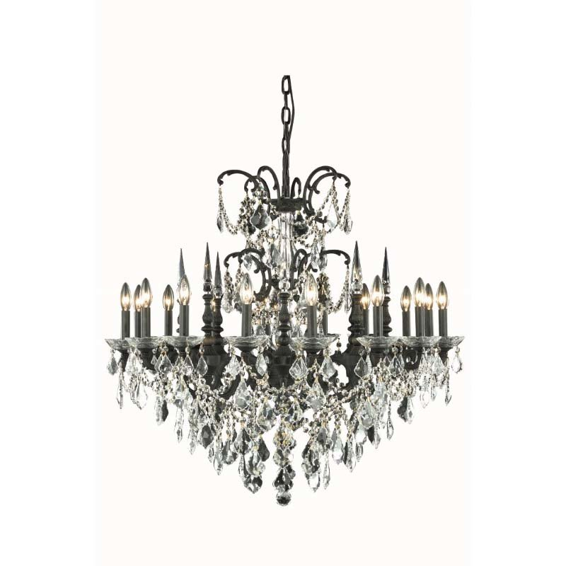 Elegant Lighting Athena 16 Light Dark Bronze Chandelier Clear Spectra Swarovski Crystal (9716D35DB/SA)