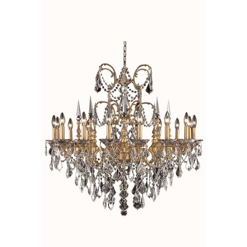 Elegant Lighting Athena 16 Light French Gold Chandelier Clear Spectra Swarovski Crystal (9716D35FG/SA)