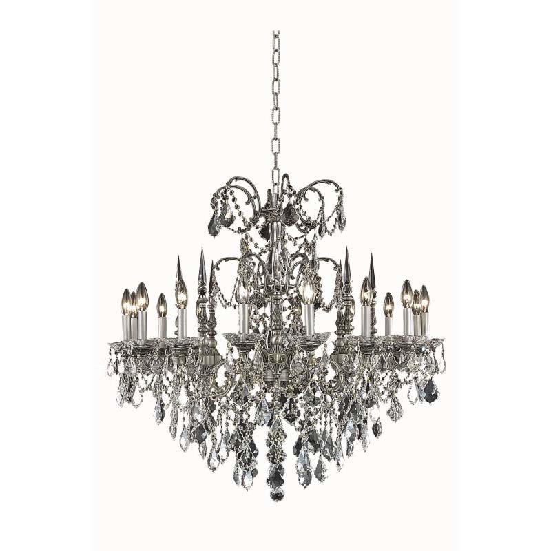 Elegant Lighting Athena 16 Light Pewter Chandelier Clear Swarovski Elements Crystal (9716D35Pw/SS)