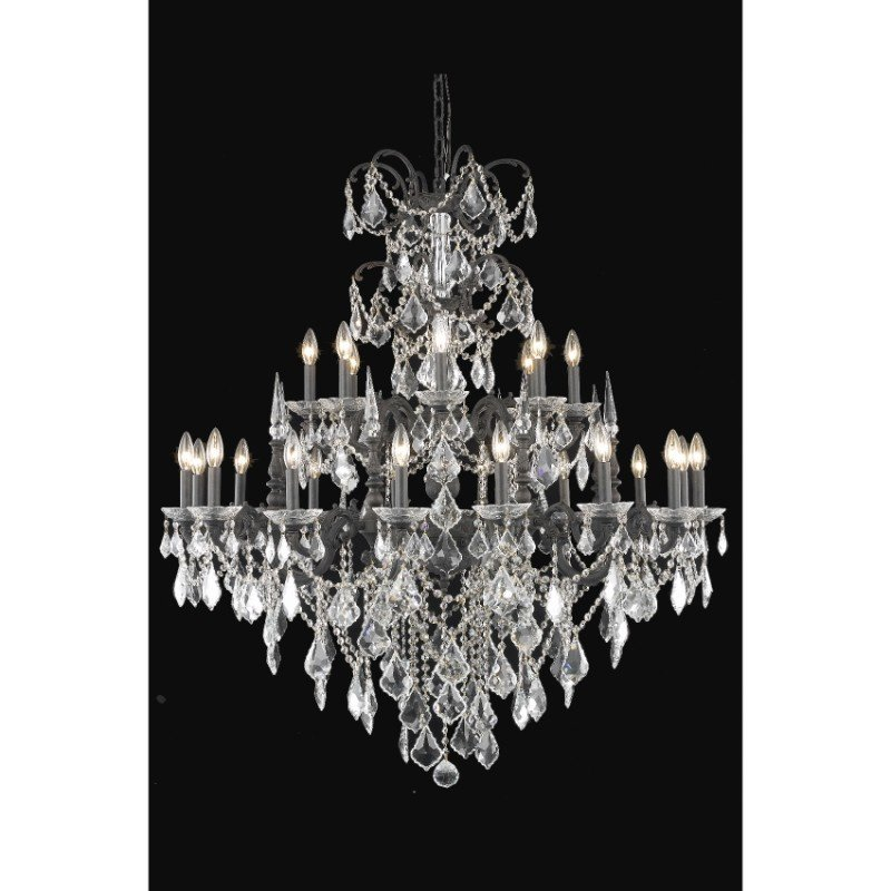 Elegant Lighting Athena 24 Light Dark Bronze Chandelier Clear Swarovski Elements Crystal (9724G44DB/SS)