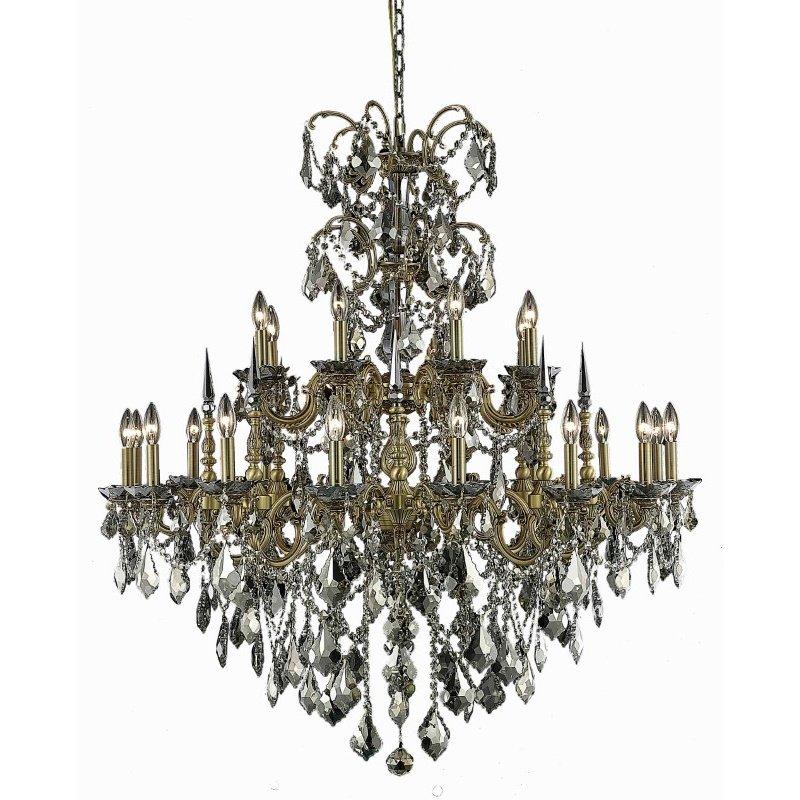 Elegant Lighting Athena 24 Light French Gold Chandelier Golden Teak (Smoky) Royal Cut Crystal (9724G44FG-GT/RC)