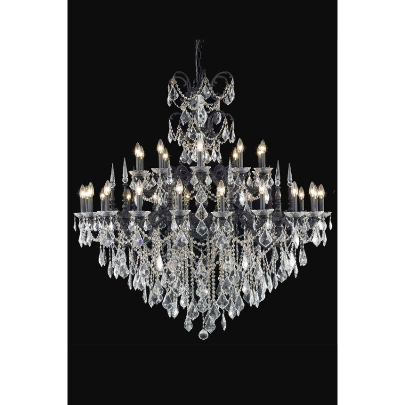 Elegant Lighting Athena 30 Light Dark Bronze Chandelier Clear Elegant Cut Crystal (9730G53DB/EC)