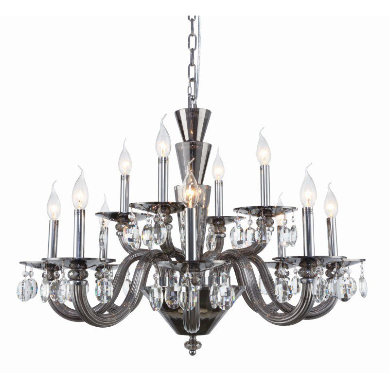 Elegant Lighting Augusta 12 Light Silver Shade Chandelier Clear Royal Cut Crystal (7870D32SS/RC)