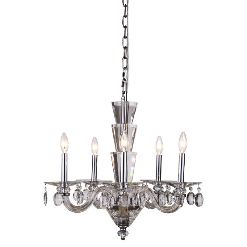 Elegant Lighting Augusta 5 Light Chrome Chandelier Clear Royal Cut Crystal (7870D23C/RC)