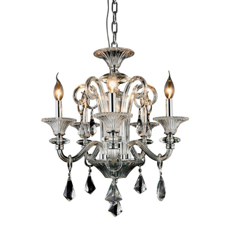 Elegant Lighting Aurora 5 Light Silver Shade Chandelier Clear Royal Cut Crystal (7871D20C/RC)