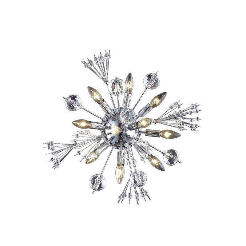 Elegant Lighting Cyclone 10 Light Chrome Wall Sconce Clear Elegant Cut Crystal (3400W20C/EC)