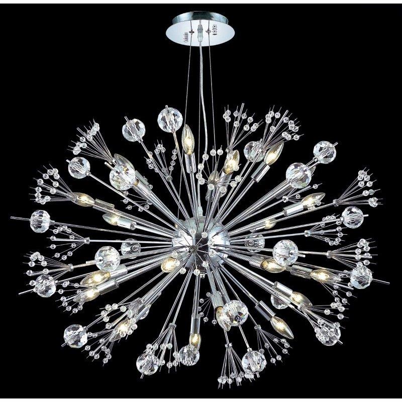Elegant Lighting Cyclone 24 Light Chrome Chandelier Clear Elegant Cut Crystal (3400D36C/EC)