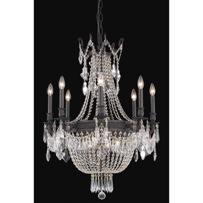 Elegant Lighting Esperanza 12 Light Dark Bronze Chandelier Clear Elegant Cut Crystal (9312D26DB/EC)