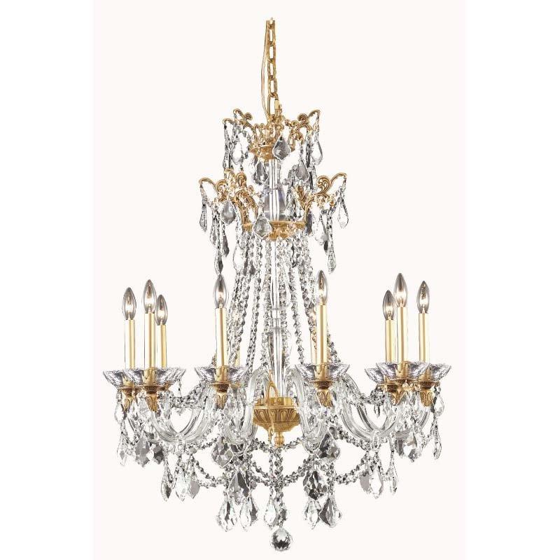 Elegant Lighting Imperial 10 Light French Gold Chandelier Clear Swarovski Elements Crystal (9810D30FG/SS)
