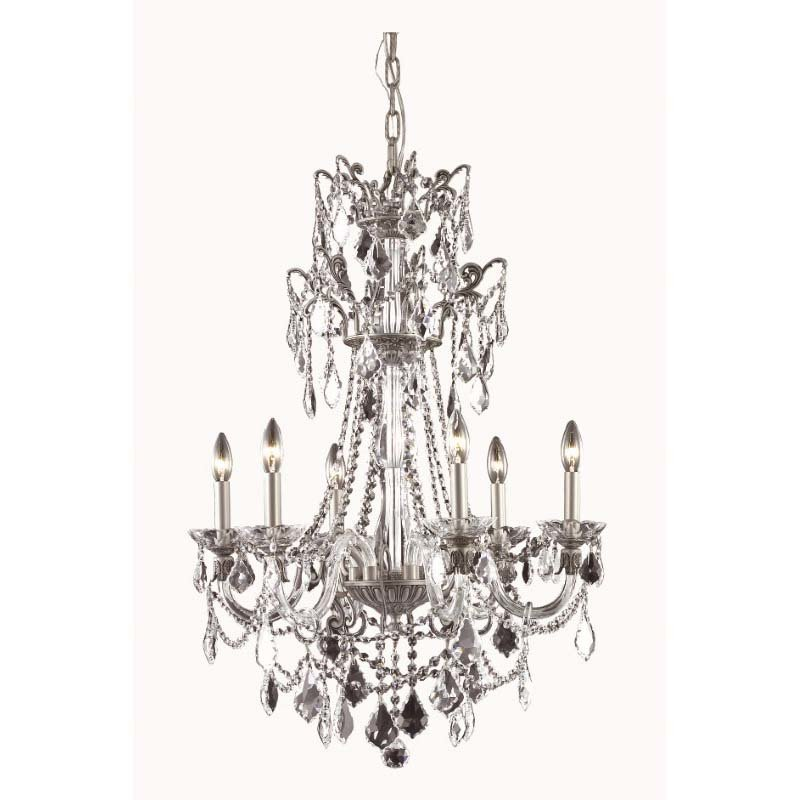 Elegant Lighting Imperial 6 Light Pewter Chandelier Clear Swarovski Elements Crystal (9806D24Pw/SS)