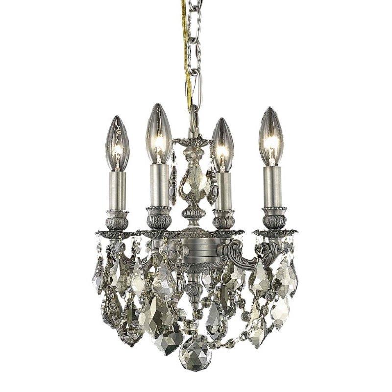 Elegant Lighting Lillie 4 Light Pewter Pendant Golden Teak (Smoky) Royal Cut Crystal (9104D10PW-GT/RC)