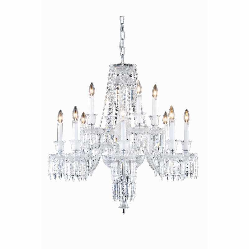 Elegant Lighting Majestic 12 Light Chrome Chandelier Clear Elegant Cut Crystal (8912D32C/EC)
