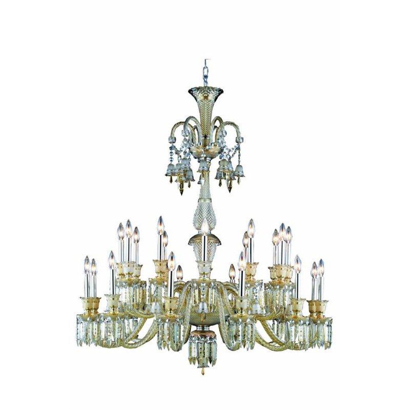 Elegant Lighting Majestic 24 Light Golden Teak Chandelier Golden Teak (Smoky) Elegant Cut Crystal (8924G44GT-GT/EC)