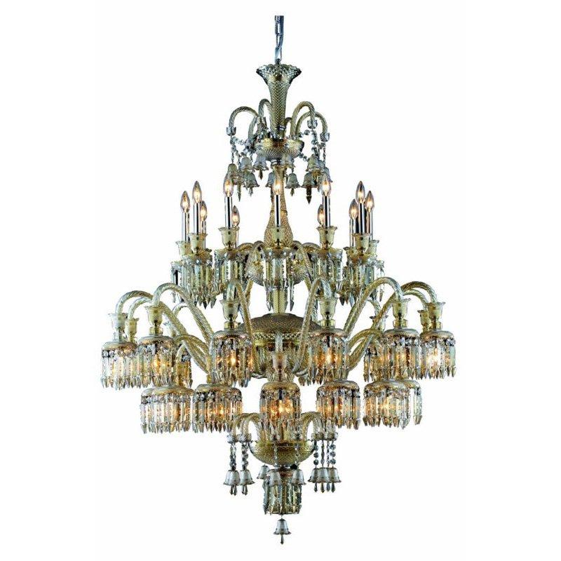 Elegant Lighting Majestic 36 Light Golden Teak Chandelier Golden Teak (Smoky) Elegant Cut Crystal (8936G48GT-GT/EC)