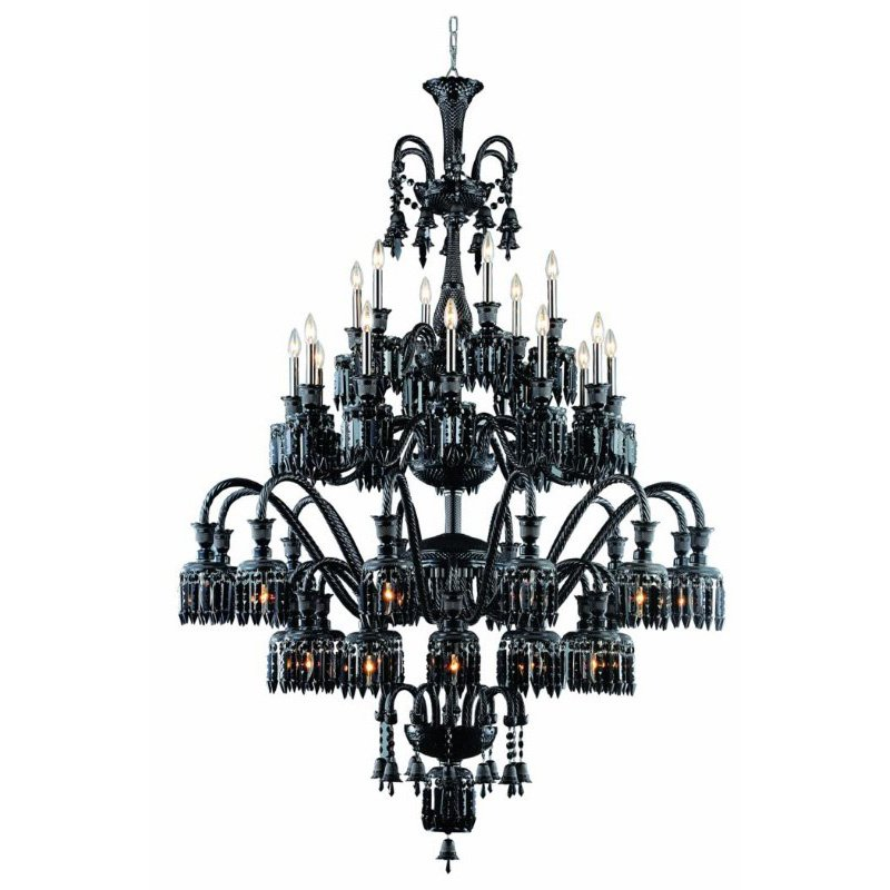 Elegant Lighting Majestic 42 Light Black Chandelier Jet (Black) Elegant Cut Crystal (8942G54B-JT/EC)