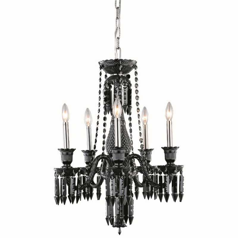 Elegant Lighting Majestic 5 Light Black Chandelier Jet (Black) Elegant Cut Crystal (8905D21B-JT/EC)