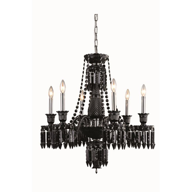 Elegant Lighting Majestic 6 Light Black Chandelier Jet (Black) Elegant Cut Crystal (8906D27SB-JT/EC)