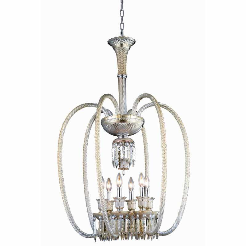 Elegant Lighting Majestic 6 Light Golden Teak Chandelier Golden Teak (Smoky) Elegant Cut Crystal (8906D24GT-GT/EC)