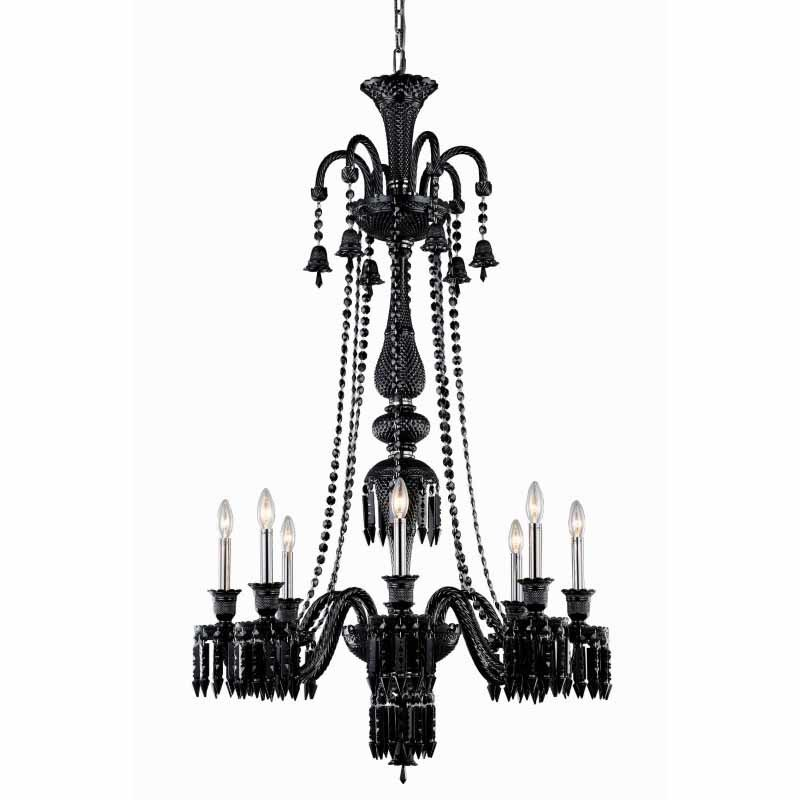 Elegant Lighting Majestic 8 Light Black Chandelier Jet (Black) Elegant Cut Crystal (8908G53B-JT/EC)