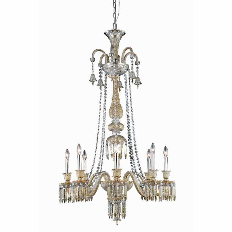 Elegant Lighting Majestic 8 Light Golden Teak Chandelier Golden Teak (Smoky) Elegant Cut Crystal (8908G53GT-GT/EC)