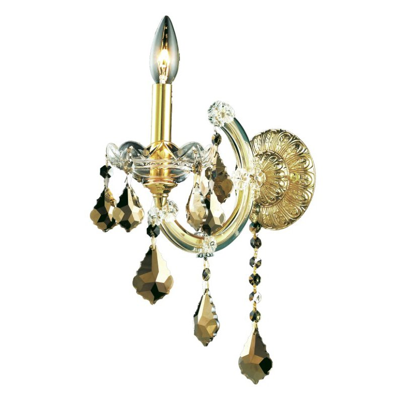 Elegant Lighting Maria Theresa 1 Light Golden Teak Wall Sconce Golden Teak (Smoky) Swarovski Elements Crystal (2800W1GT-GT/SS)