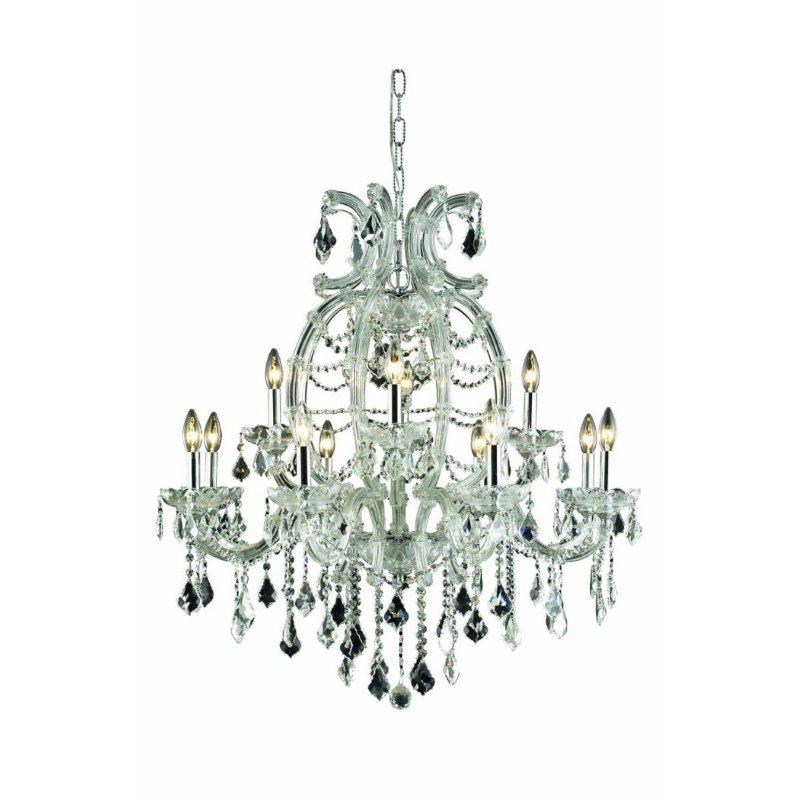 Elegant Lighting Maria Theresa 12 Light Chrome Chandelier Clear Swarovski Elements Crystal (2800D33C/SS)