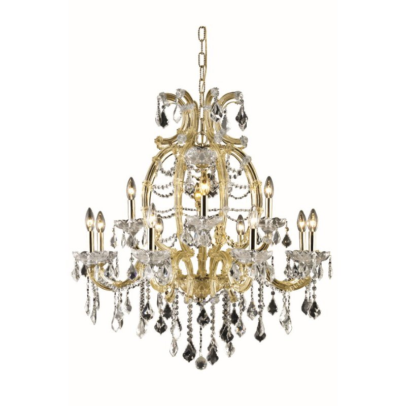 Elegant Lighting Maria Theresa 12 Light Gold Chandelier Clear Swarovski Elements Crystal (2800D33G/SS)