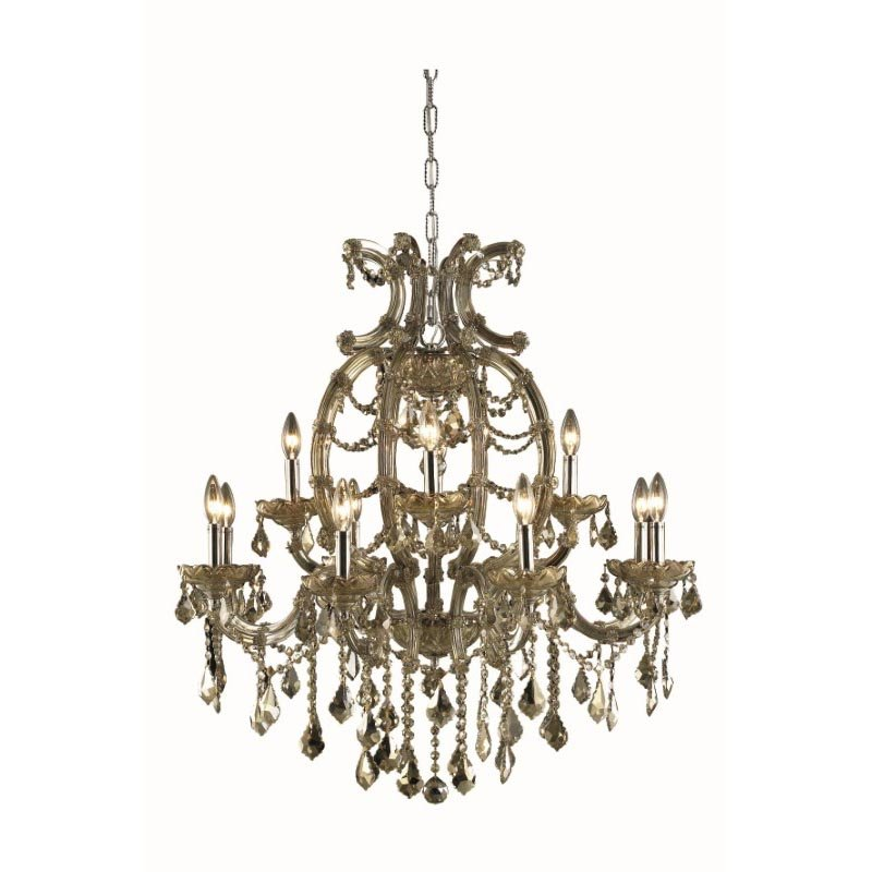 Elegant Lighting Maria Theresa 12 Light Golden Teak Chandelier Golden Teak (Smoky) Royal Cut Crystal (2800D33GT-GT/RC)
