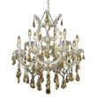 Elegant Lighting Maria Theresa 13 Light Chrome Chandelier Golden Teak (Smoky) Royal Cut Crystal (2801D27C-GT/RC)
